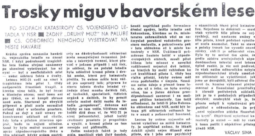 Npor. Franišek Kvapil - 40.výročí tragické nehody